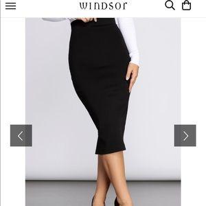 Windsor Black Pencil Skirt